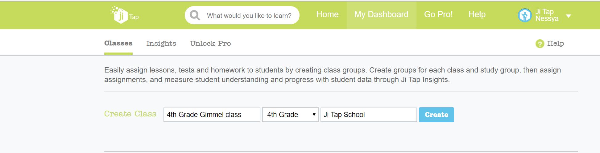 All teachers should create a class in Ji Tap
